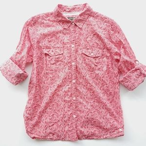 EDDIE BAUER Red & White Leaf Print Button Down Top